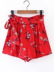 Shorts floral avec ceinture
