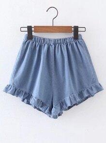 Elastic Waist Ruffle Hem Denim Shorts