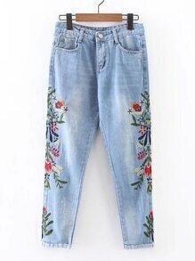 Flower Embroidery Rolled Hem Jeans