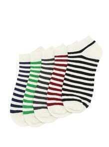 Socquette à rayures à 5 couleurs 5 paires