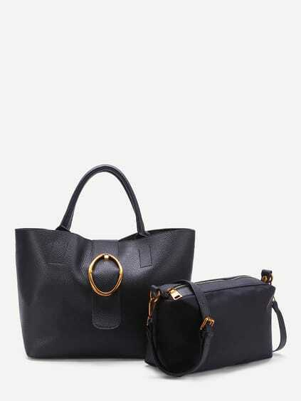 Contrast Buckle Tote Bag With Inner Pouch