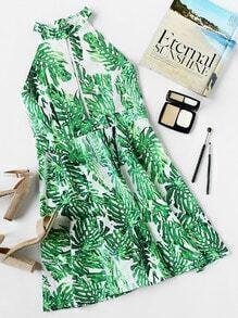 Halter Neck Printed Random Open Front Backless Dress
