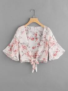 Flute Sleeve Floral Print Knot Open Front Top