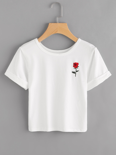Rose Embroidered Patch Cuffed Tee