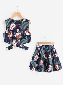 Floral Leaf Print Random Cut Out Zip Up Back Top With Skirt