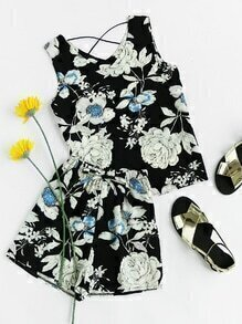 Floral Print Criss Cross Back Top With Drawstring Shorts