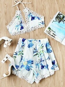Halter Neck Floral Print Lace Trim Bralet With Shorts