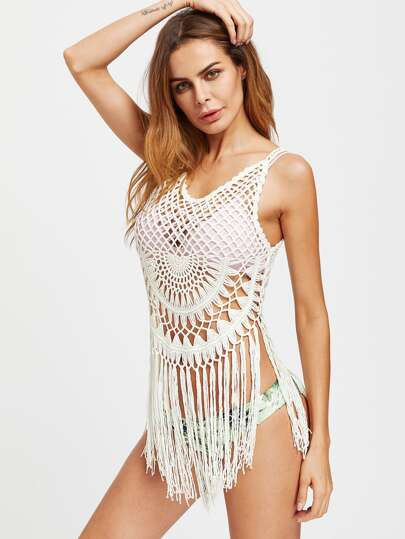 Fringe Trim Crochet Cover Up