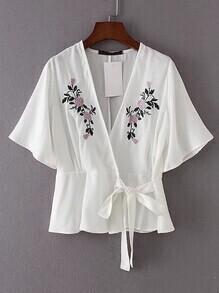 Kimono Sleeve Tie Waist Embroidery Top