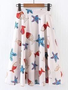 Jupe plissé imprimé étoile de mer avec zip au dos