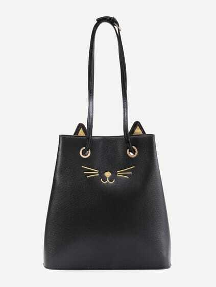 Cat Pattern PU Tote Bag With Cute Ear