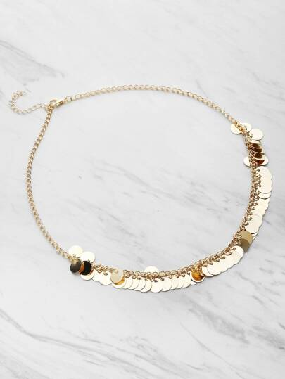 Sequin Decorated Chain Necklace