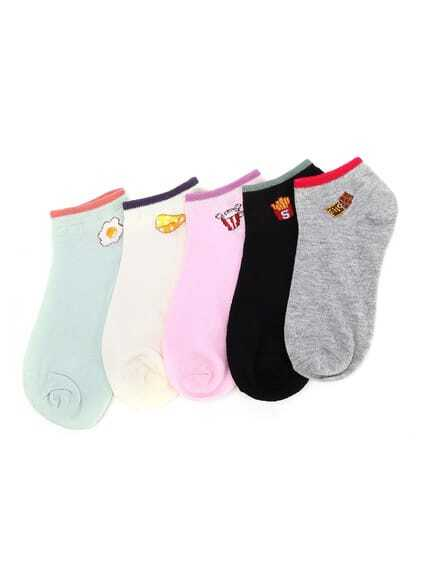 Contrast Cuff Below Ankle Socks 5 Pairs