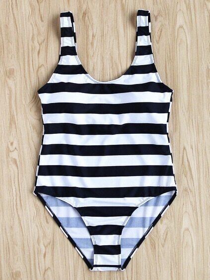 Two Tone Striped Print Scoop Neck Swimsuit
