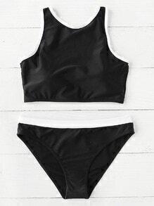 Ensemble de Bikini bicolore avec lacet