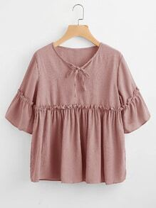 Self Tie Neck Frill Trim Smock Blouse