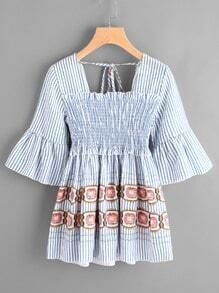 Fluted Sleeve Pinstripe Self Tie Back Shirred Blouse