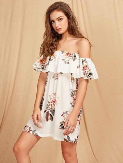 Flounce Layered Neckline Floral Print Dress