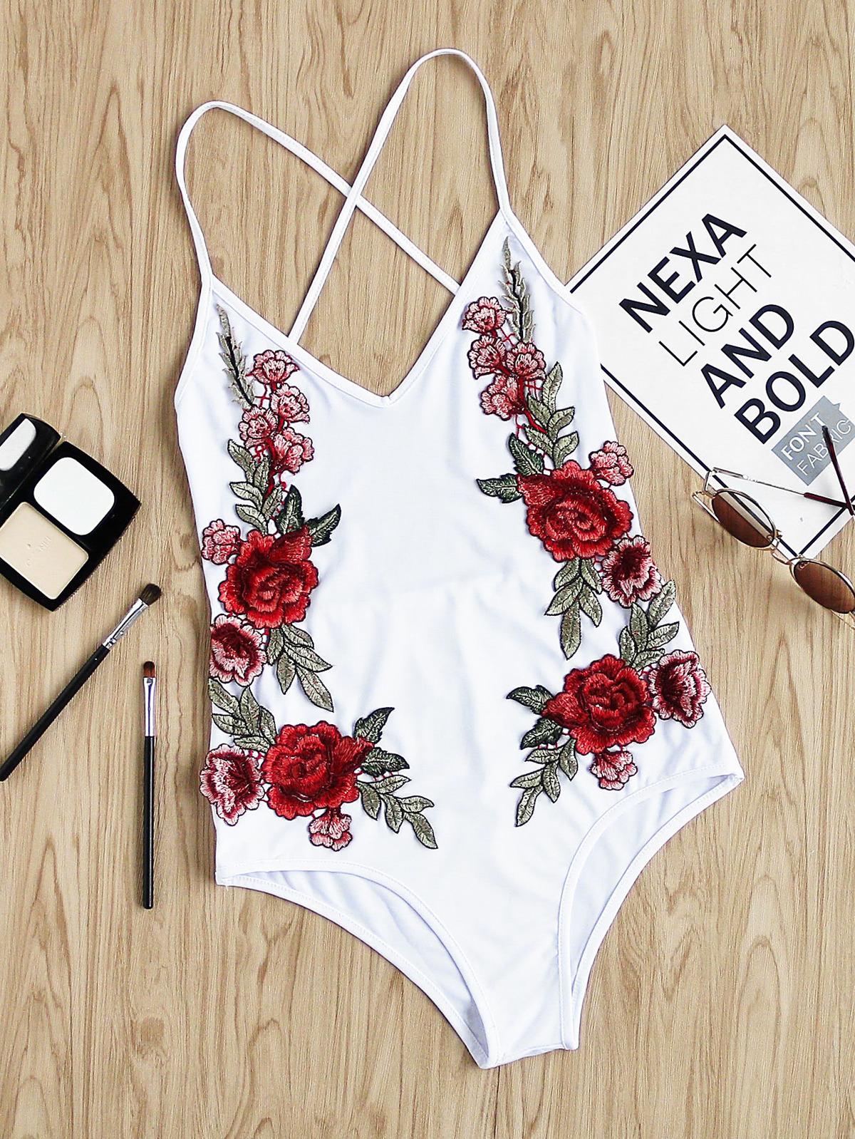玫瑰 刺繡的 裝飾 交叉 露背 連身衣
