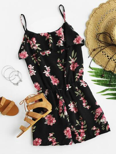 Open Shoulder Layered Floral Print Romper