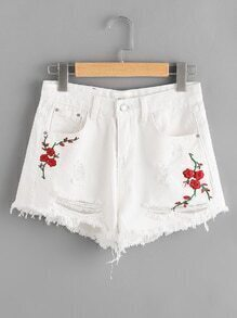 Distress Floral Embroidered Fray Hem Denim Shorts
