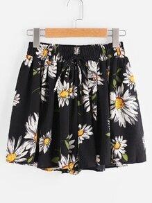 Sunflower Print Random Drawstring Shirred Waist Chiffon Shorts
