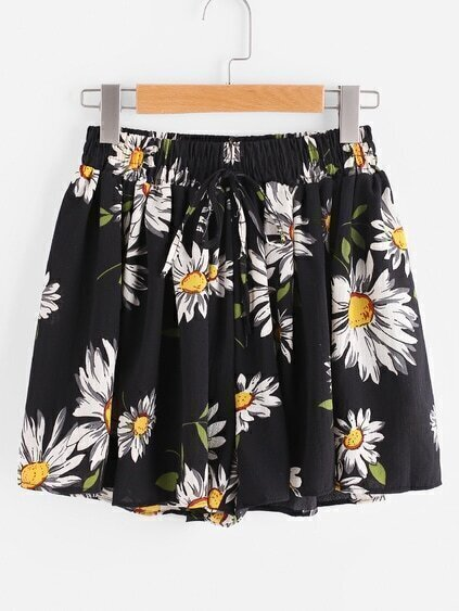 Sunflower Print Random Drawstring Shirred Waist Chiffon Shorts