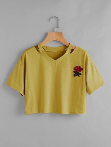 Cut Out Neck Rose Patch Crop Tee