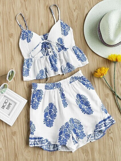 Eyelet Lace Up Frill Hem Shirred Back Top With Shorts