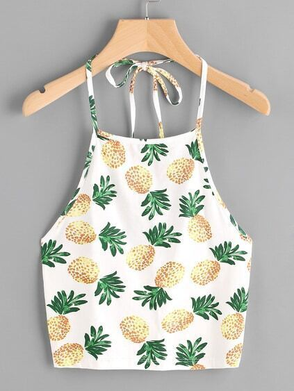 Halter Neck Pineapple Print Random Top