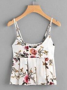 Floral Print Random Box Pleat Babydoll Cami Top