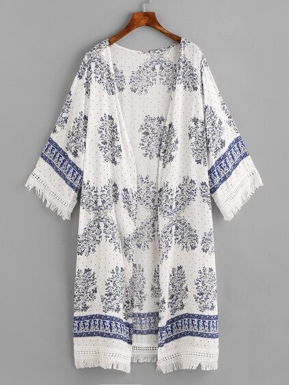 Botanical Print Fringe Hemline Cover Up