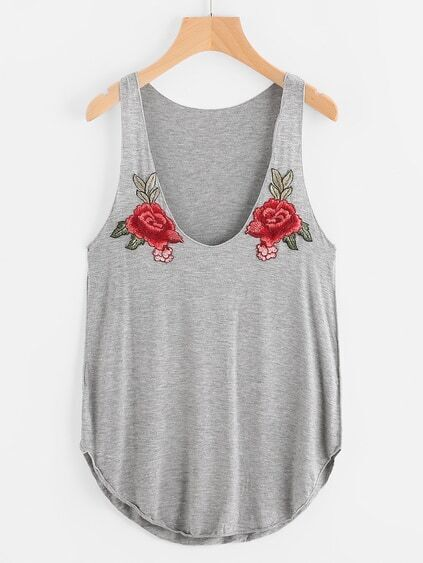 Curved Hem Slub Tank Top With Embroidered Patches