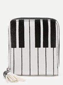 Porte-monnaie imprimé du piano et clé avec des franges