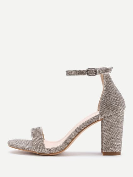 Two Part Block Heeled Linen Sandals