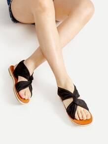 Sandales plates torsadé en velours