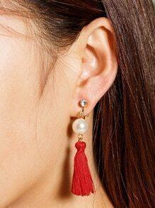 Boucles d'oreilles découpées en faux perles et perles