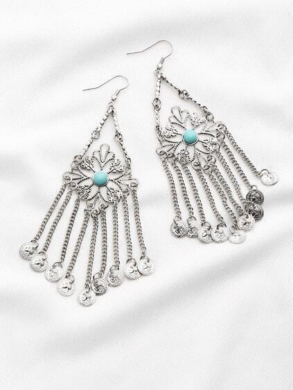 Coin Fringe Embellished Statement Earrings