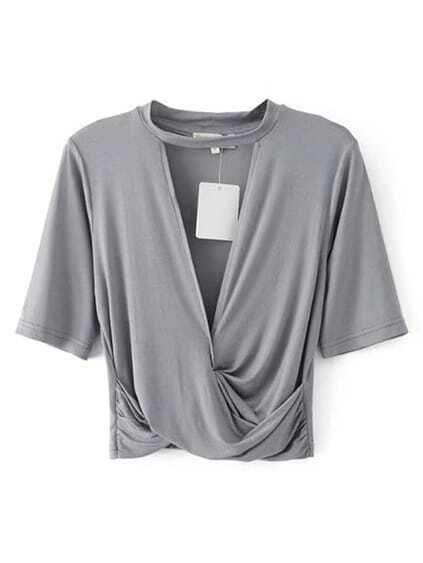 Surplice Front Crop Top