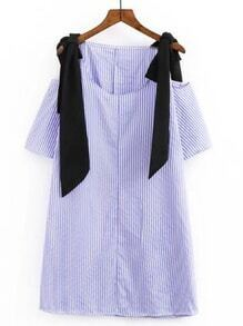 Contrast Bow Tie Detail Vertical Striped Dress