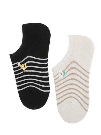 Rabbit Embroidery Striped Invisible Socks 2 Pairs
