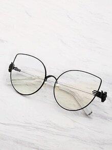 Sonnebrille mit Kunstperlen und Katzemuster