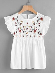 Embroidered Frill Trim Keyhole Back Smock Top