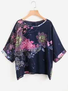 Chiffon Bluse mit Blumenmuster und Knöpfen hinten