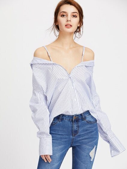 Vertical Striped Convertible Blouse