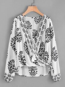 Damask Print Tie Front Wrap Top