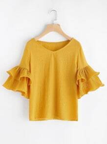 V Neckline Tiered Bell Sleeve Top
