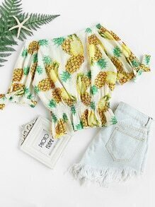 Bardot Pineapple Print Shirred Top