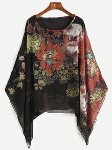 Chiffon Bluse mit Kimonoärmeln und Blumen