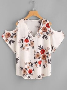 V Neckline Open Shoulder Calico Print Top